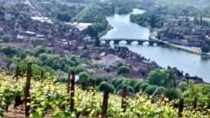 Joigny and the river Yonne from the vineyards
