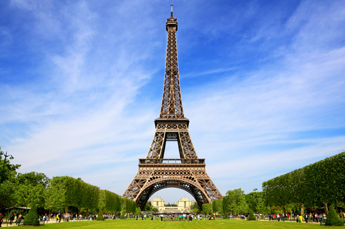 The Eiffel Tower, with the Trocadero in the distance
