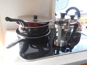 Saucepans, frying pan, kettle and cafetiere
