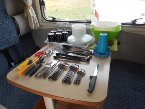 Cutlery, crockery, glasses, cooking tools and, of course, a corkscrew!