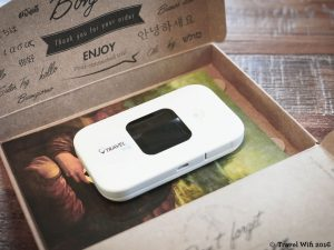 """The Travel Wifi comes in a recycled box with charger, manual, prepaid return envelope and even a """"Le Sable"""" cookie by Michel et Augustine!"""
