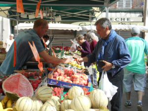 Fresh fruit and vegetables in abundance all over France One of the true joys of a campervan adventure in France at this time of the year is being able to gorge on fresh, healthy produce wherever you go. We did not have the best of weather this spring and the fruit was a little late to ripen by French standards but the weather is now gorgeous and there is suddenly ripe fruit, at bargain prices everywhere! Here are some photos from Joigny market on Saturday. Joigny has a great produce market every Wednesday and Saturday. Sens also has an excellent produce market (just opposite the cathedral in a stunning, recently restored, traditional market hall). Sens market is open on Monday, Wednesday, Friday and Saturday mornings. If you pick up your campervan on a Saturday and would like to visit a local market on Sunday morning there are also good markets at Charny and Chablis (both are also pretty, Burgundy towns with good restaurants and shops so a good place to spend a first night). Strawberries and raspberries that taste like they already have cream and sugar on, new potatoes that taste like they already have butter on, that's our kind of food! The markets also sell everything from roasted chickens to artisan cheeses so you can make a hassle-free meal from a quick visit to a market in your campervan kitchen. Ripe Charentais melon with cured Bayonne ham, buffalo Mozzarella with perfect vine tomatoes, runny Brie de Courtenay (a local variety) with a traditional French baguette and celery, artisan smoked salmon or trout with crisp Batavia lettuce and a squeeze of lemon - we could go on and on. France stays true to the seasons and imports very little produce so the selection will change with each month but remain amazing until the winter (even then you can be assured of crisp apples, juicy citrus fruit and freshly pulled up root vegetables). Come and discover why France is the gourmet capital of the world from the comfort of a motorhome or campervan.