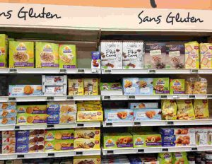 Gluten-free food items in a French supermarket