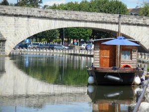 A picturesque wooden boat at Villeneuve-sur-Yonne, Burgundy