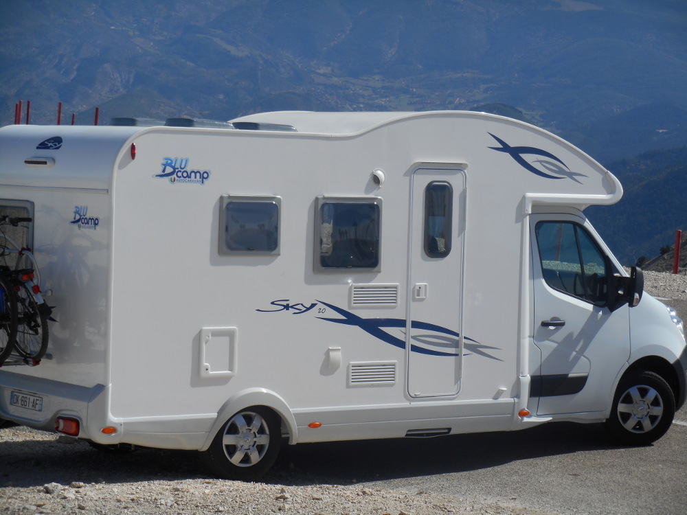 One of our Euro-Explorer motorhomes parked at the top of Mount Ventoux - stage 12 of the Tour
