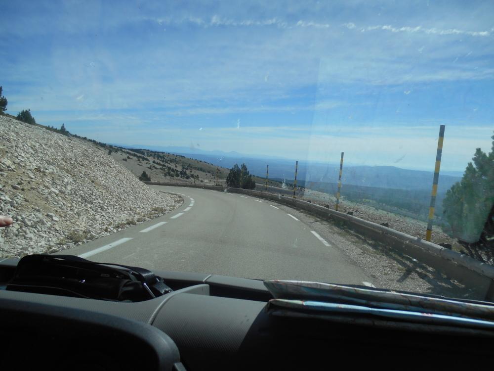 Mount Ventoux through the windscreen of a Euro-Explorer motorhome