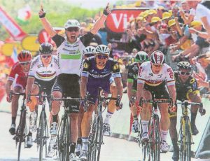 MArk Cavendish winning Stage 1 - there's nothing more exciting than seeing the Tour's cycling heroes live