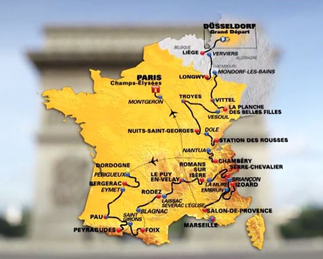 The TDF2017 route map (© Tour de France)