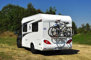 A motorhome showin gits bike rack