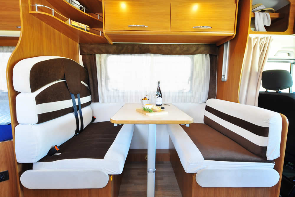 Dinette in the Euro-Explorer campervan