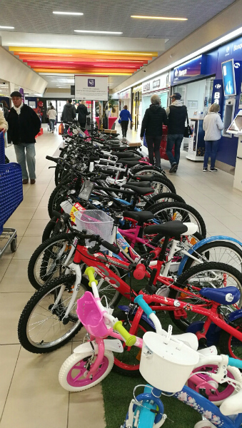 A big selection of children's bikes in our local hypermarket