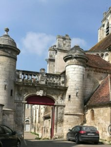 The village of St Bris near Chablis. It is best to avoid driving a campervan through historic architecture!