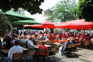 Outdoor café scene in Dusseldorf's Old Town