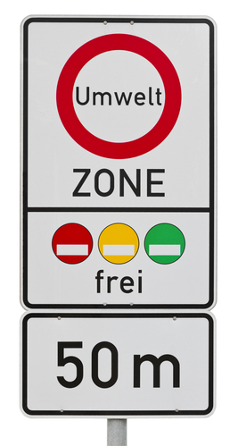 German low emission zone traffic sign isolated on white