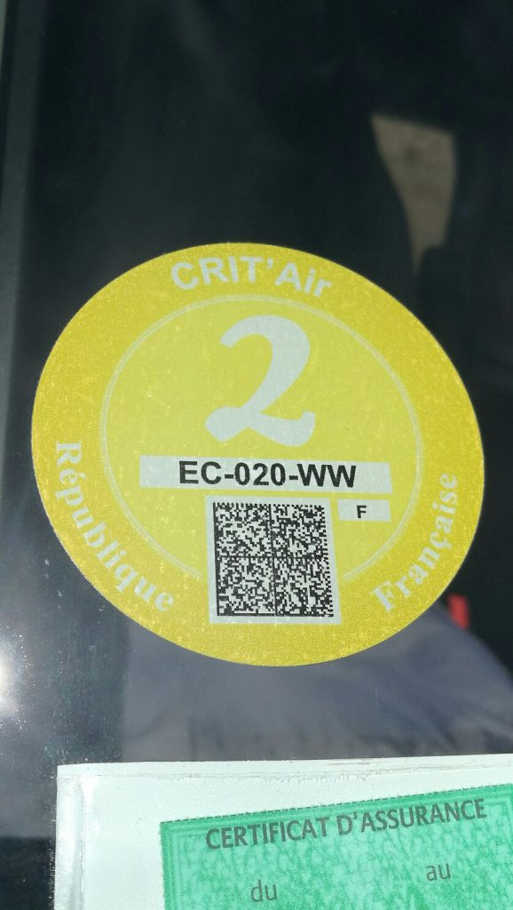 French Crit'Air Low Emission sticker
