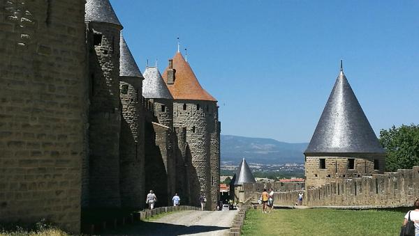 Carcassonne medieval citadel's ramparts