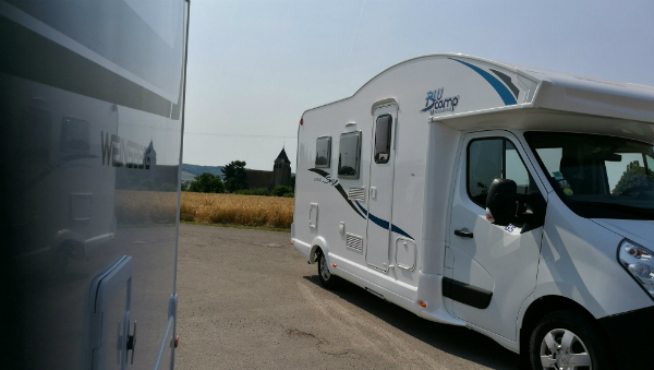 A motorhome in the hot Burgundy sun