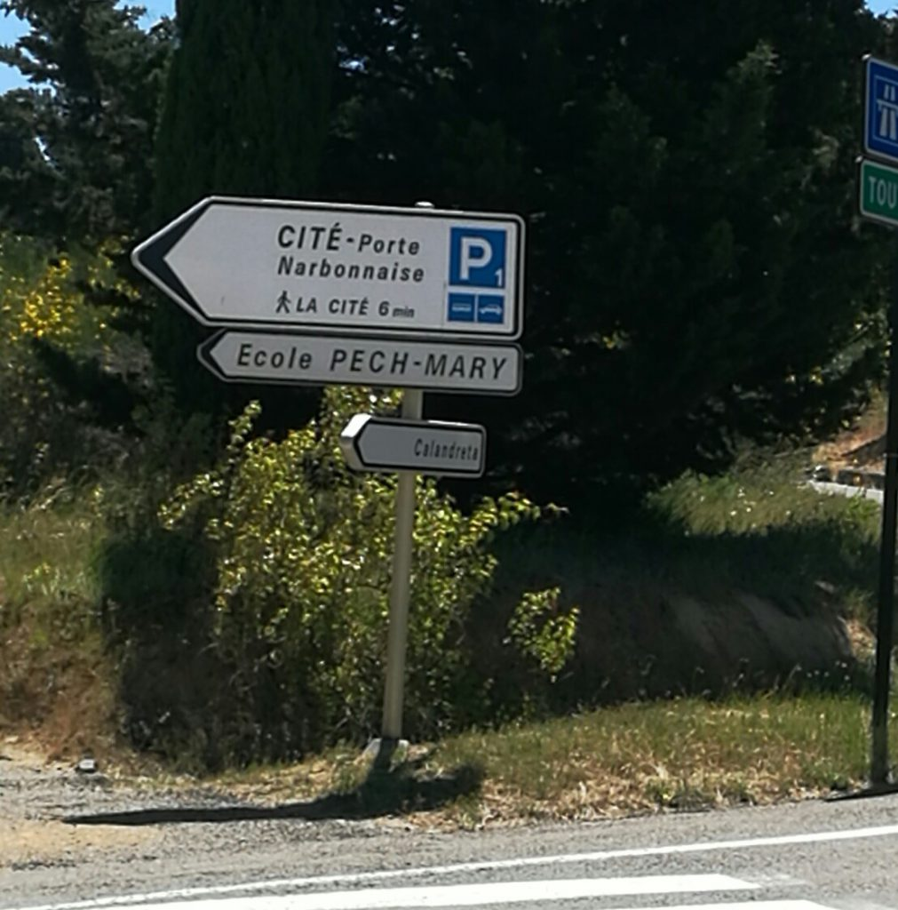 Road sign in Carcassonne