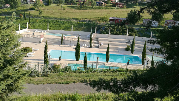 Swimming pool complex at campsite near Carcassonne