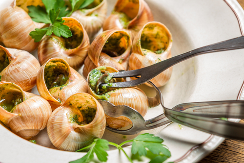 Snails fired in garlic butter