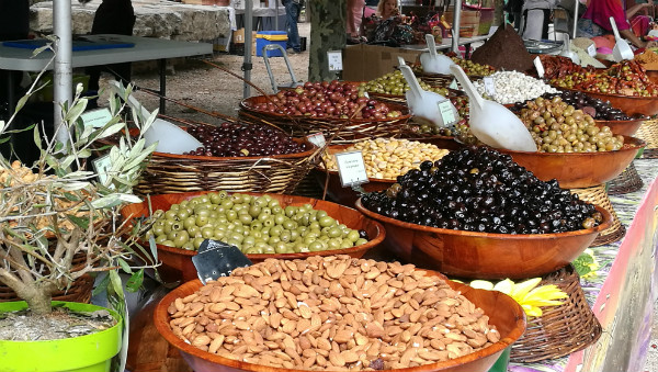 Olive and nut stall Lot Valley Market