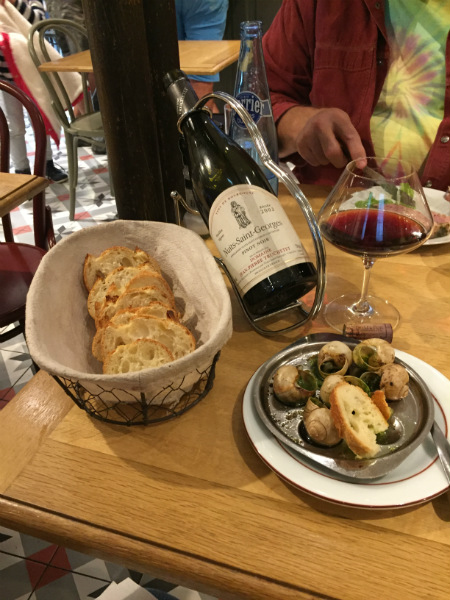 Snails and a bottle of Nuits Saint George