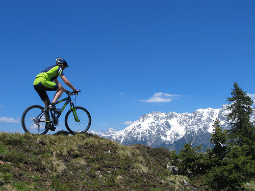 Man riding a mountain bike in the French Alps