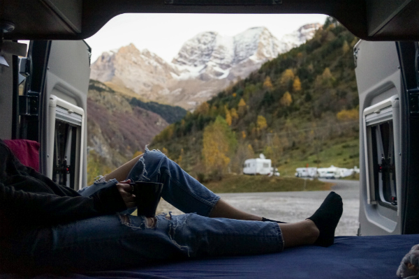 A winning competition photo: Looking out of a campervan captured in the Pyrenees