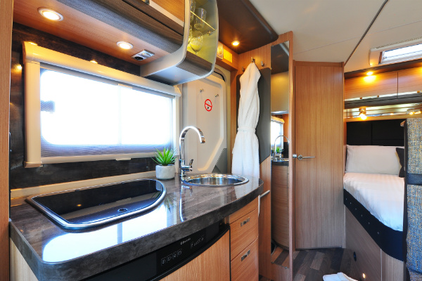 The inside of a luxury motorhome, RV