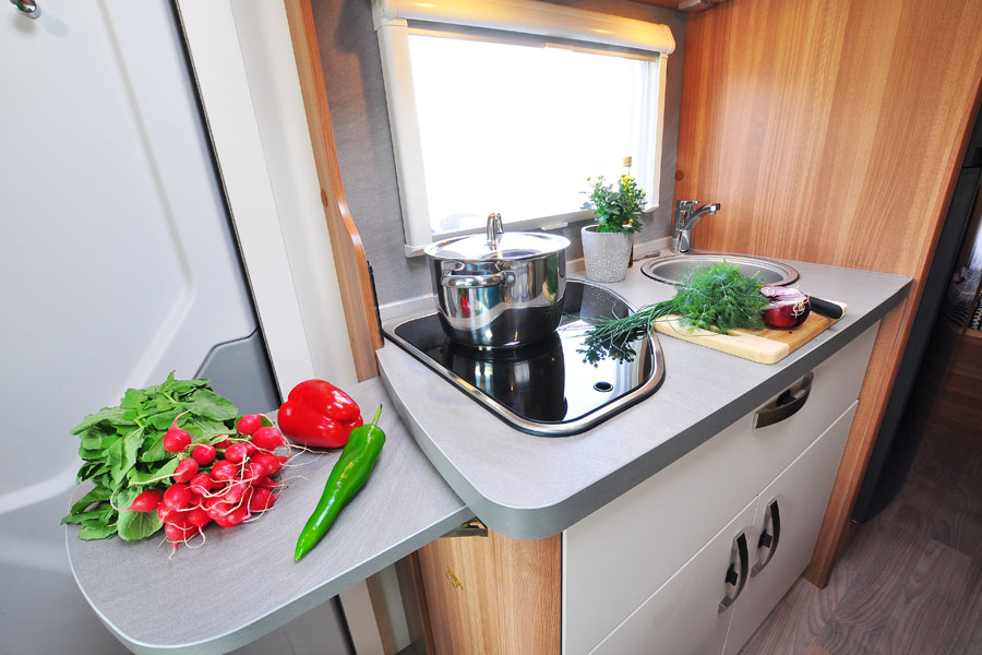 Motorhome kitchens are small but well equipped and have everything you need to create a great range of meals