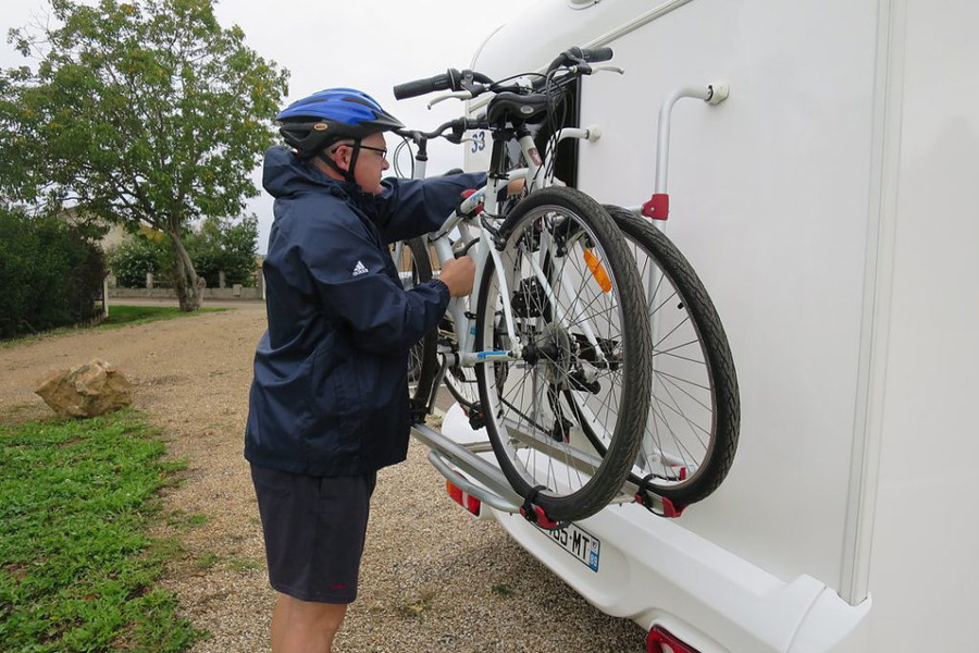 Bikes make it easy to explore pretty French villages when travelling in a motorhome