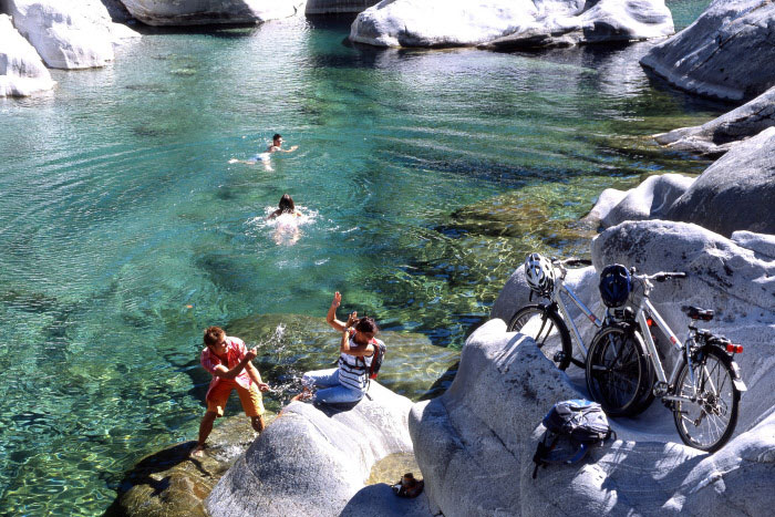 Come on in! The water is crystal clear at the Verzasca- Waterfall, Switzerland