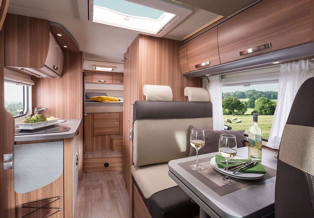 Motorhome interiors are spacious and light, perfect for settling in after a day exploring