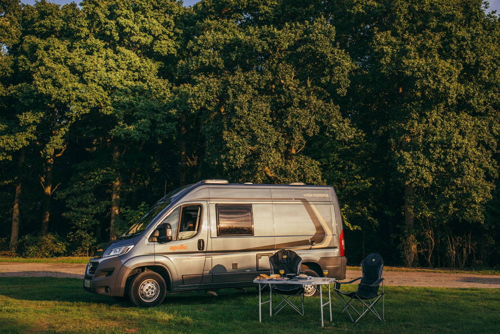 Spend the night under the trees with your Apollo motorhome