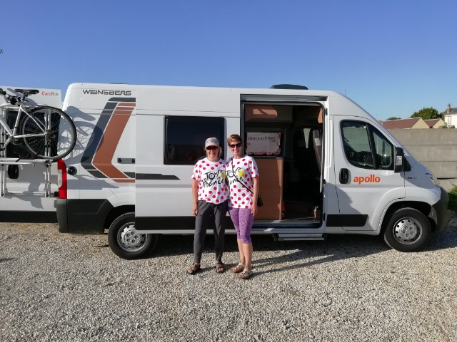 A couple hiring a campervan for the Tour de France from France Motorhome Hire