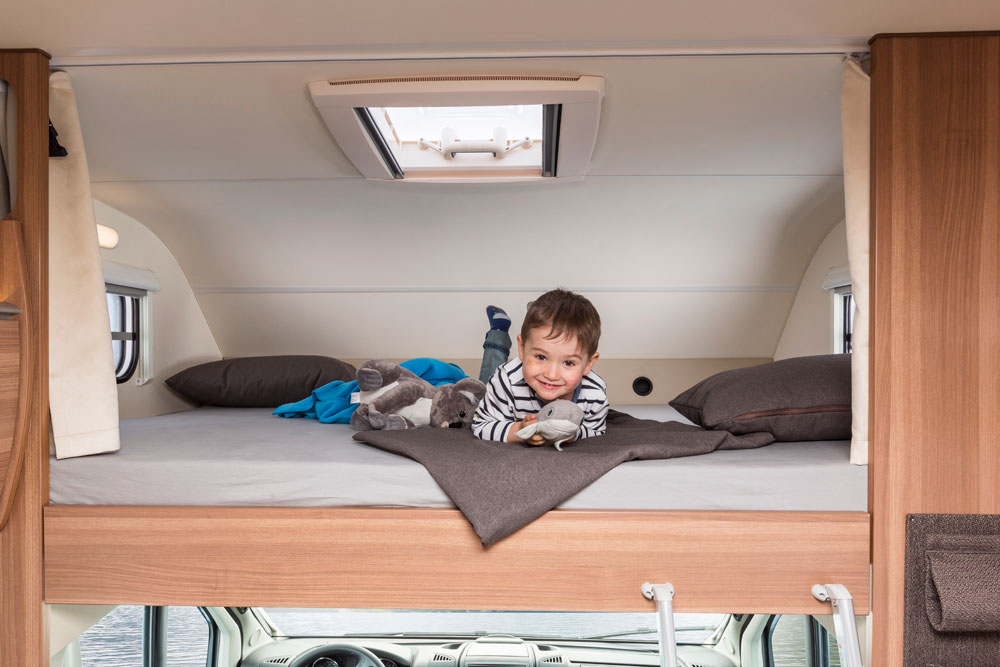 child in a motorhome