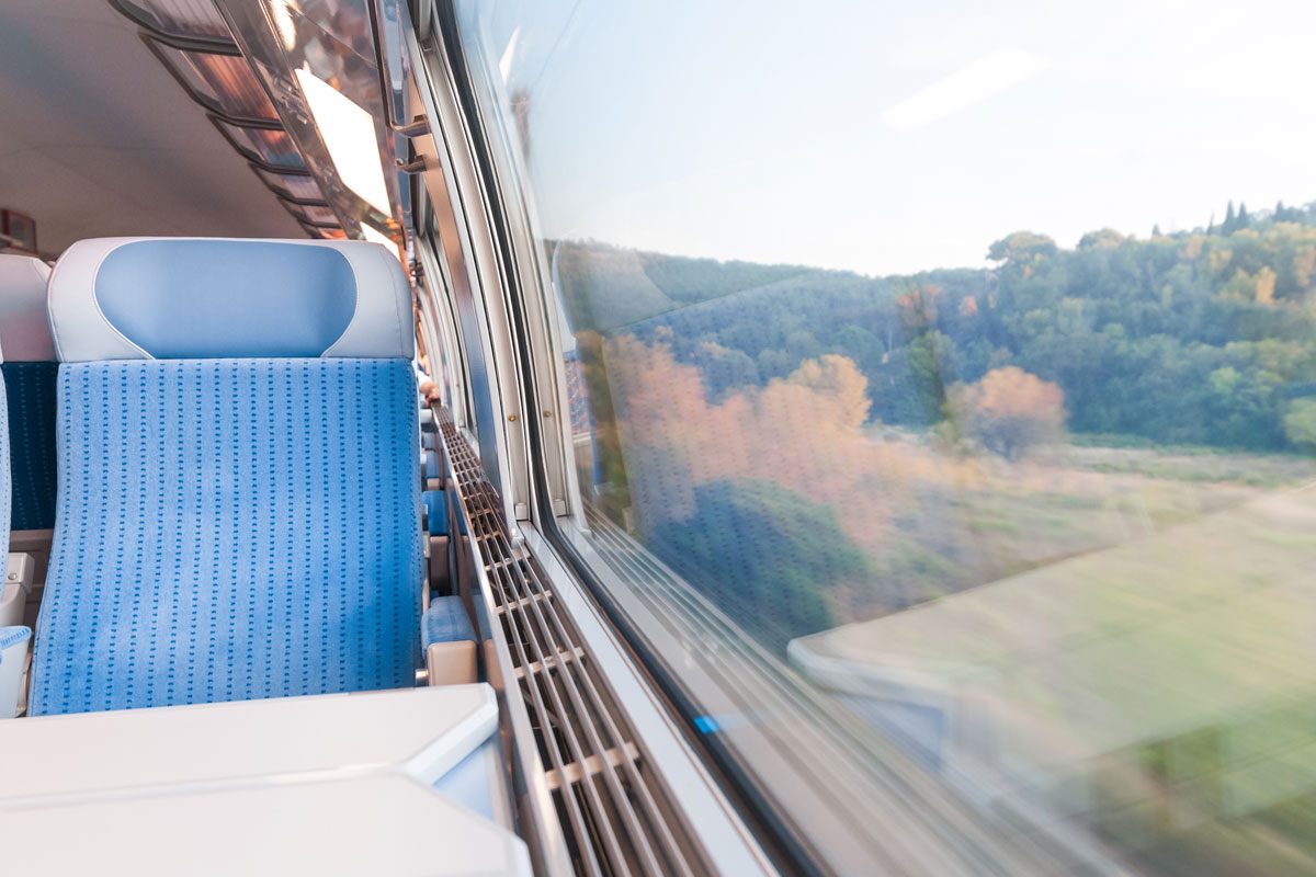 Train journey to Sens, France with countryside view